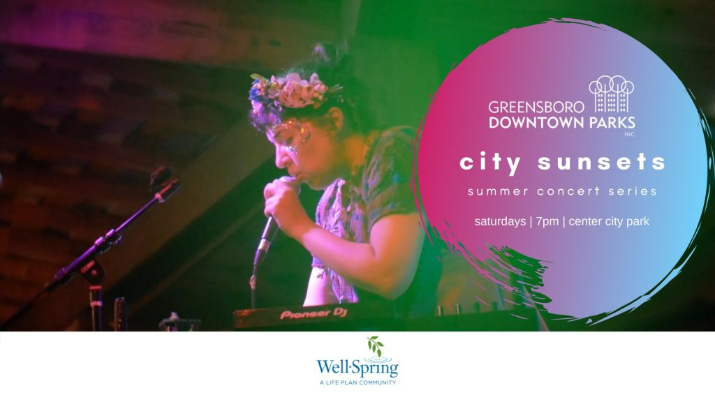 Quilla flyer for City Sunsets event on June 5th